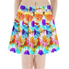 Colorful Daisy Garden Pleated Mini Skirt