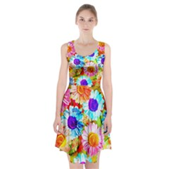 Colorful Daisy Garden Racerback Midi Dress