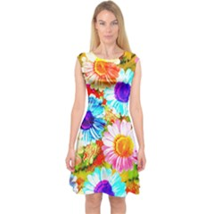 Colorful Daisy Garden Capsleeve Midi Dress