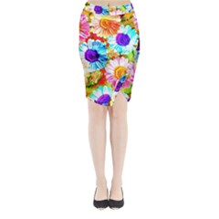 Colorful Daisy Garden Midi Wrap Pencil Skirt
