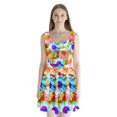 Colorful Daisy Garden Split Back Mini Dress