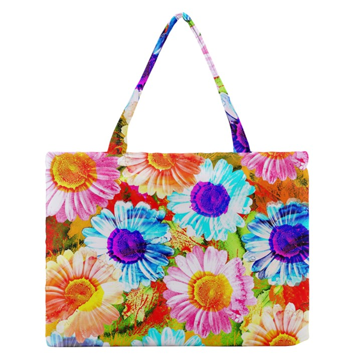 Colorful Daisy Garden Medium Zipper Tote Bag