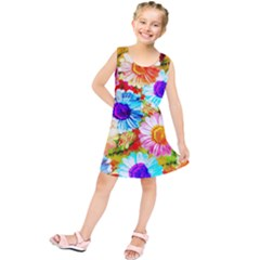 Colorful Daisy Garden Kids  Tunic Dress