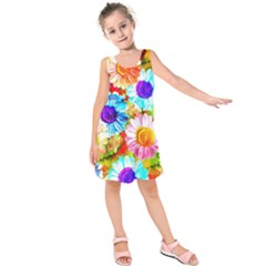 Colorful Daisy Garden Kids  Sleeveless Dress