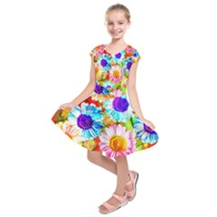 Colorful Daisy Garden Kids  Short Sleeve Dress