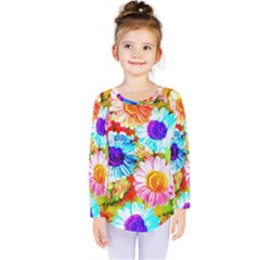 Colorful Daisy Garden Kids  Long Sleeve Tee