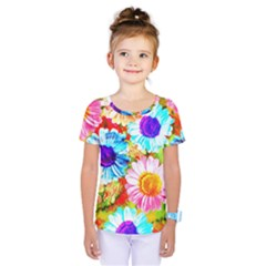 Colorful Daisy Garden Kids  One Piece Tee