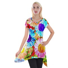 Colorful Daisy Garden Short Sleeve Side Drop Tunic
