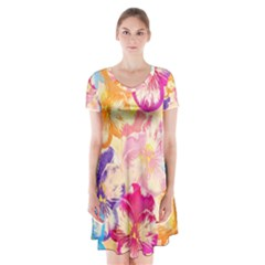 Colorful Pansies Field Short Sleeve V Neck Flare Dress