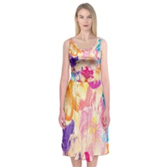 Colorful Pansies Field Midi Sleeveless Dress