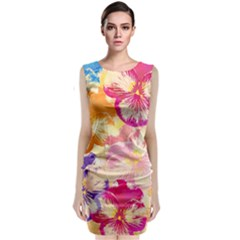 Colorful Pansies Field Classic Sleeveless Midi Dress