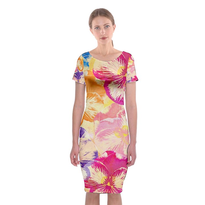 Colorful Pansies Field Classic Short Sleeve Midi Dress