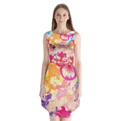 Colorful Pansies Field Sleeveless Chiffon Dress
