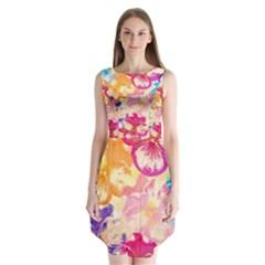 Colorful Pansies Field Sleeveless Chiffon Dress