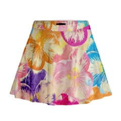 Colorful Pansies Field Mini Flare Skirt