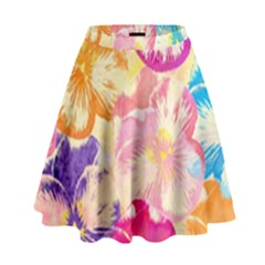 Colorful Pansies Field High Waist Skirt