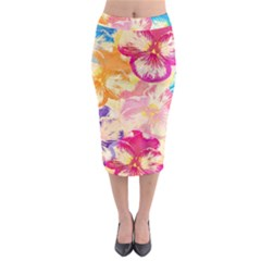 Colorful Pansies Field Midi Pencil Skirt