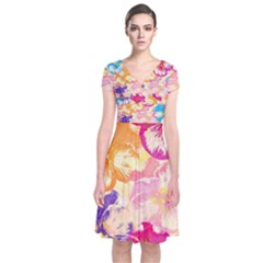 Colorful Pansies Field Short Sleeve Front Wrap Dress
