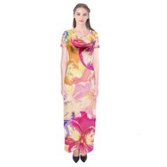 Colorful Pansies Field Short Sleeve Maxi Dress