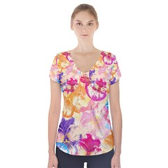 Colorful Pansies Field Short Sleeve Front Detail Top