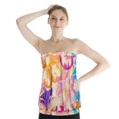 Colorful Pansies Field Strapless Top