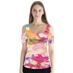 Colorful Pansies Field Butterfly Sleeve Cutout Tee