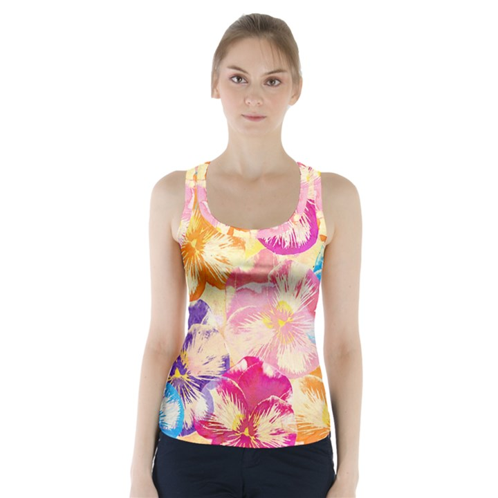 Colorful Pansies Field Racer Back Sports Top