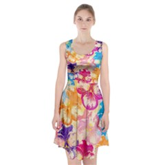 Colorful Pansies Field Racerback Midi Dress