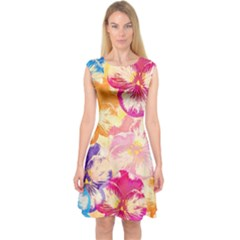 Colorful Pansies Field Capsleeve Midi Dress