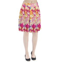 Colorful Pansies Field Pleated Skirt