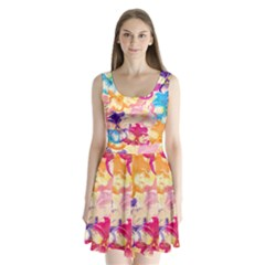Colorful Pansies Field Split Back Mini Dress