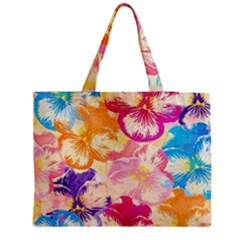 Colorful Pansies Field Medium Tote Bag
