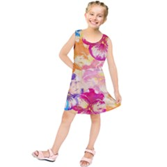 Colorful Pansies Field Kids  Tunic Dress
