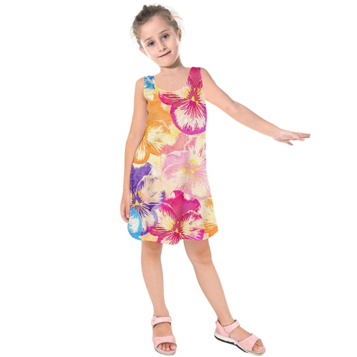 Colorful Pansies Field Kids  Sleeveless Dress
