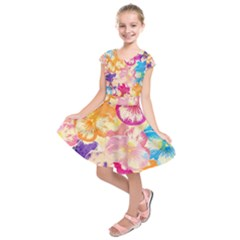 Colorful Pansies Field Kids  Short Sleeve Dress