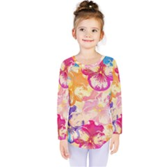 Colorful Pansies Field Kids  Long Sleeve Tee