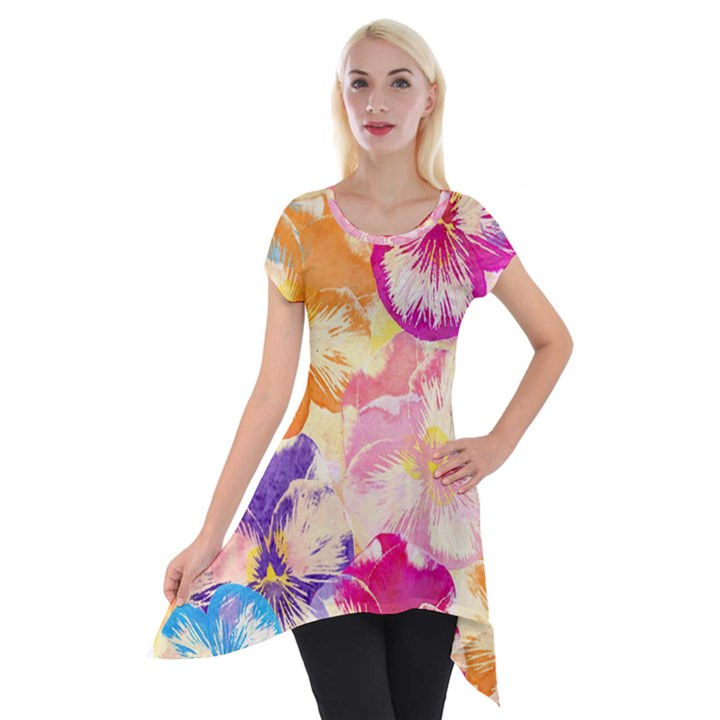 Colorful Pansies Field Short Sleeve Side Drop Tunic