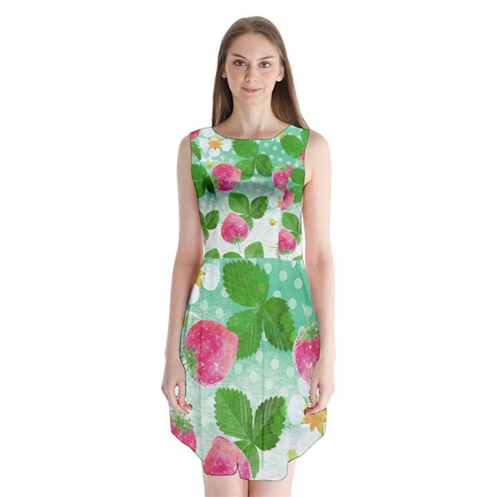 Cute Strawberries Pattern Sleeveless Chiffon Dress