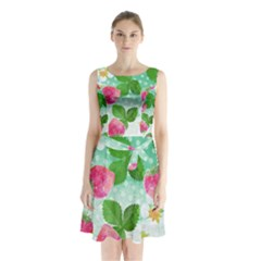 Cute Strawberries Pattern Sleeveless Chiffon Waist Tie Dress