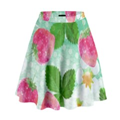 Cute Strawberries Pattern High Waist Skirt