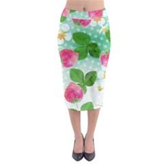Cute Strawberries Pattern Midi Pencil Skirt