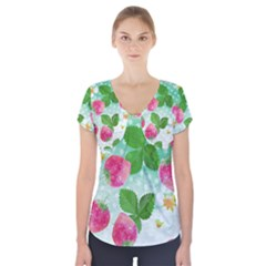 Cute Strawberries Pattern Short Sleeve Front Detail Top
