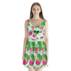 Cute Strawberries Pattern Split Back Mini Dress