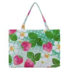 Cute Strawberries Pattern Medium Zipper Tote Bag