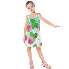 Cute Strawberries Pattern Kids  Sleeveless Dress