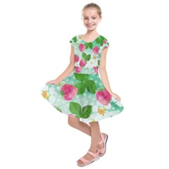Cute Strawberries Pattern Kids  Short Sleeve Dress