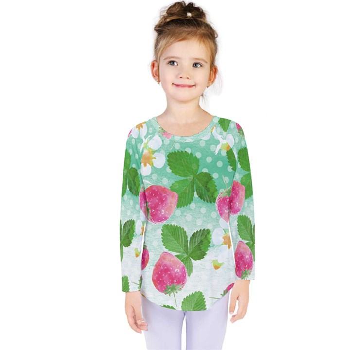 Cute Strawberries Pattern Kids  Long Sleeve Tee