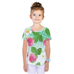 Cute Strawberries Pattern Kids  One Piece Tee