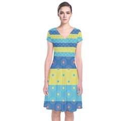 Hexagon And Stripes Pattern Short Sleeve Front Wrap Dress