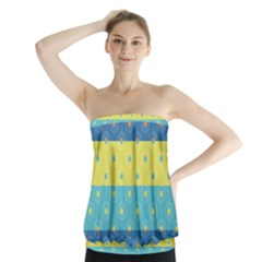Hexagon And Stripes Pattern Strapless Top